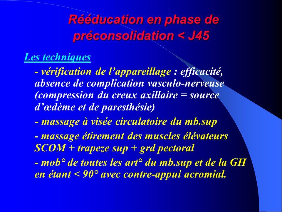 Rééducation en phase de préconsolidation < J45 Rééducation en phase de préconsolidation < J45 Les techniques - vérification de lappareillage : efficac