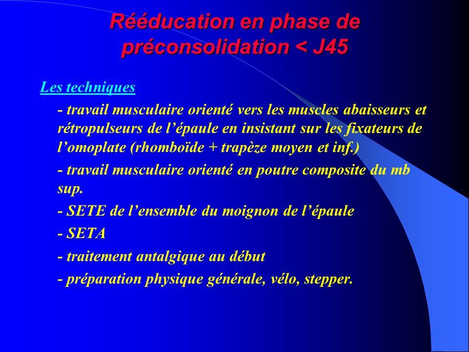 Rééducation en phase de préconsolidation < J45 Les techniques - travail musculaire orienté vers les muscles abaisseurs et rétropulseurs de lépaule en