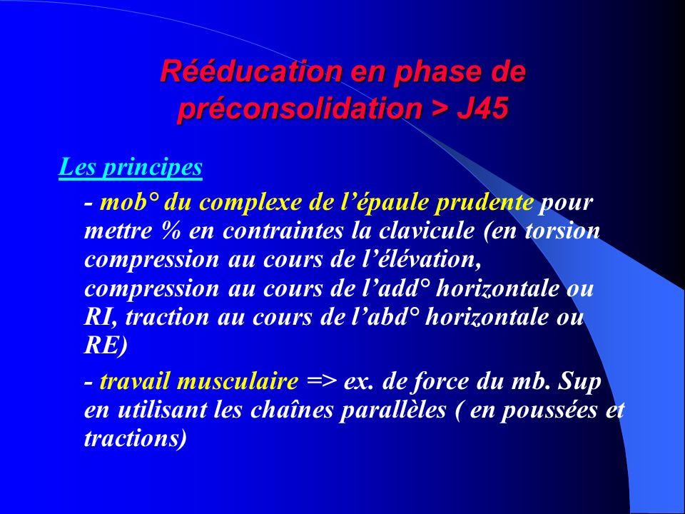 Rééducation en phase de préconsolidation > J45 Les principes - mob° du complexe de lépaule prudente pour mettre % en contraintes la clavicule (en tors