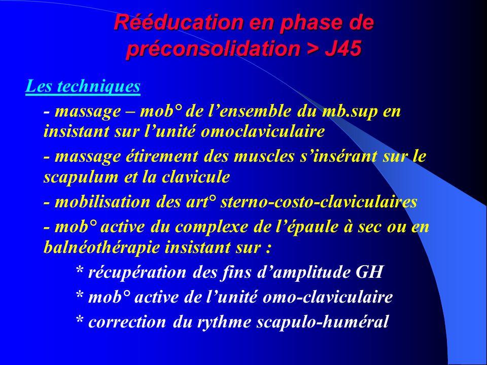 Rééducation en phase de préconsolidation > J45 Les techniques - massage – mob° de lensemble du mb.sup en insistant sur lunité omoclaviculaire - massag