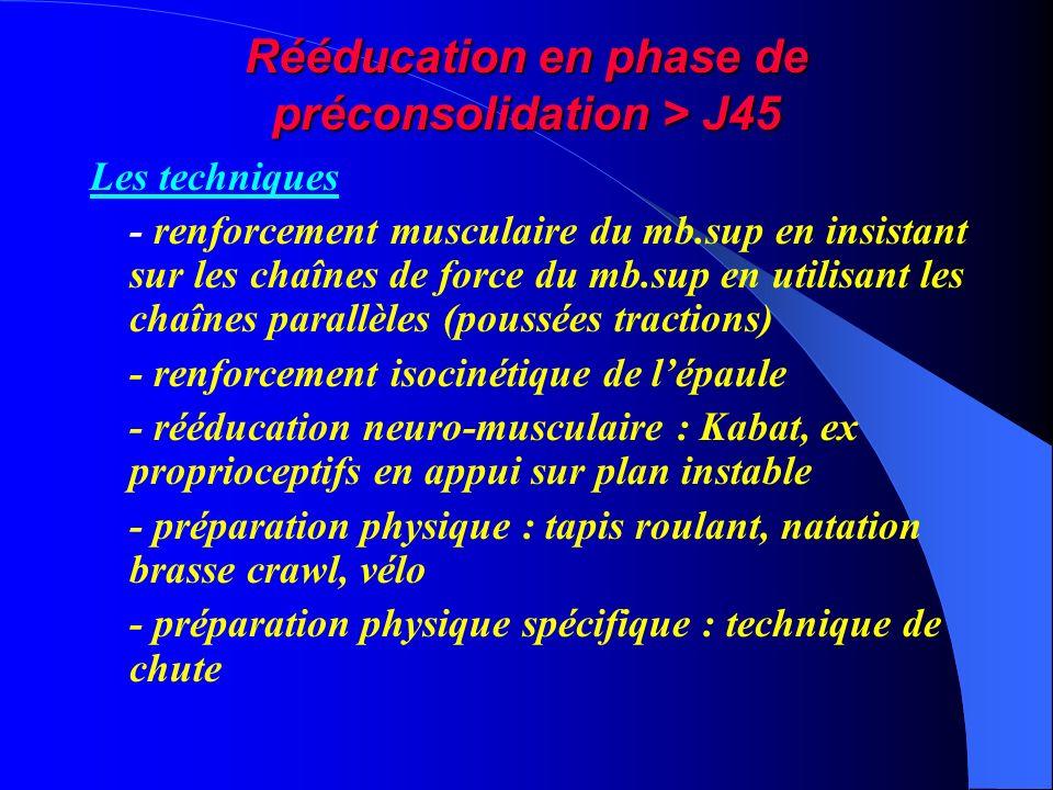 Rééducation en phase de préconsolidation > J45 Les techniques - renforcement musculaire du mb.sup en insistant sur les chaînes de force du mb.sup en u