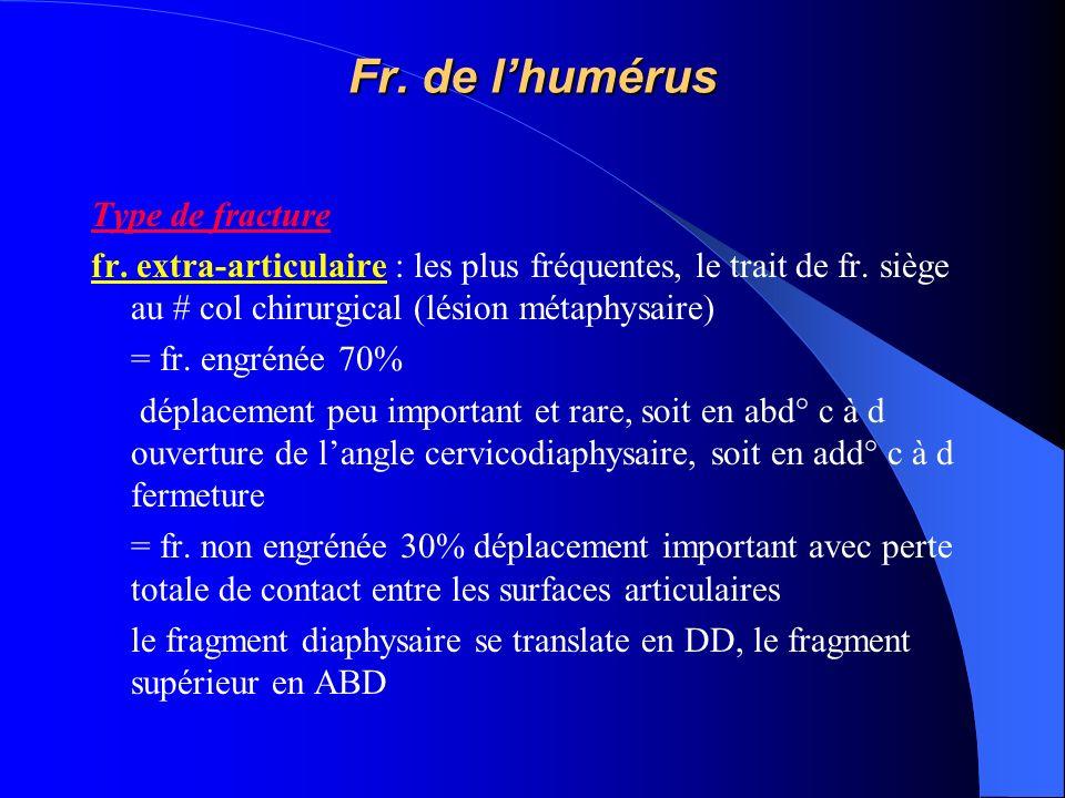 Fr. de lhumérus Type de fracture fr. extra-articulaire : les plus fréquentes, le trait de fr. siège au # col chirurgical (lésion métaphysaire) = fr. e