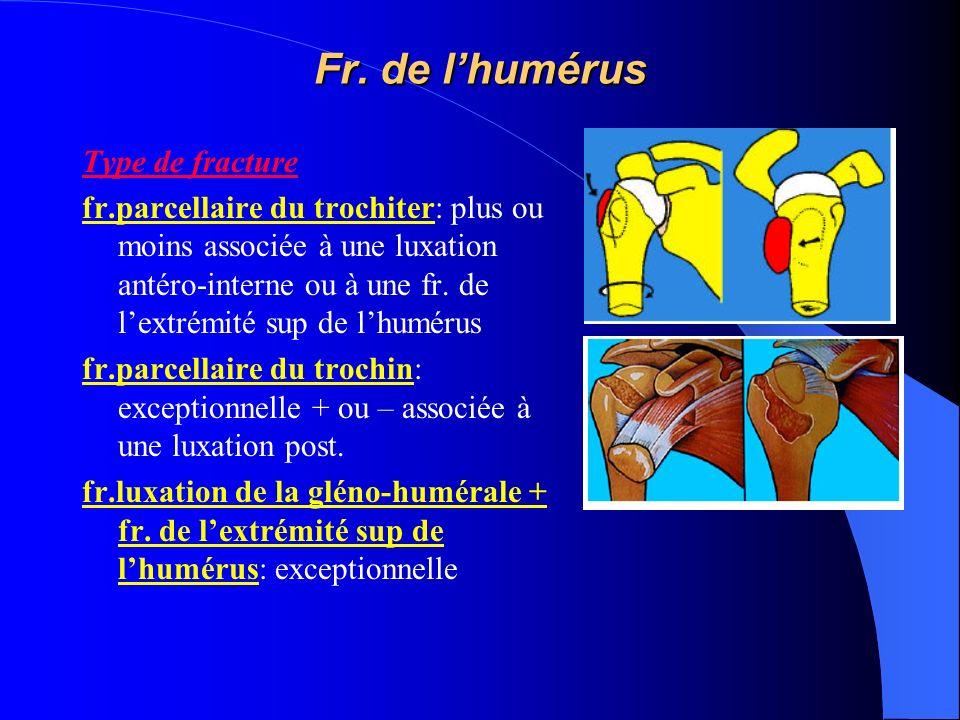Fr. de lhumérus Type de fracture fr.parcellaire du trochiter: plus ou moins associée à une luxation antéro-interne ou à une fr. de lextrémité sup de l