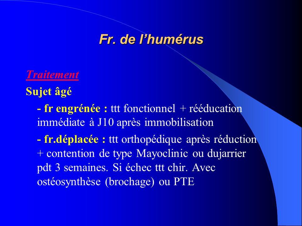 Fr. de lhumérus Traitement Sujet âgé - fr engrénée : ttt fonctionnel + rééducation immédiate à J10 après immobilisation - fr.déplacée : ttt orthopédiq