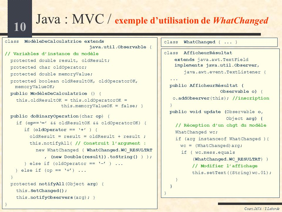 10 Cours JAVA / Y.Laborde Java : MVC / exemple dutilisation de WhatChanged class ModèleDeCalculatrice extends java.util.Observable { // Variables dins