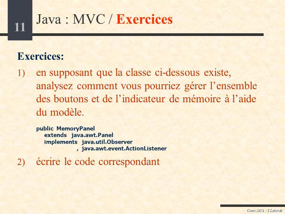 11 Cours JAVA / Y.Laborde Java : MVC / Exercices Exercices: 1) en supposant que la classe ci-dessous existe, analysez comment vous pourriez gérer lensemble des boutons et de lindicateur de mémoire à laide du modèle.
