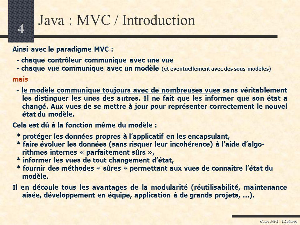 4 Cours JAVA / Y.Laborde Java : MVC / Introduction Ainsi avec le paradigme MVC : - chaque contrôleur communique avec une vue - chaque vue communique a