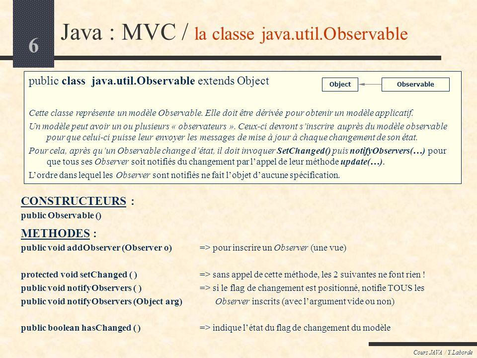 6 Cours JAVA / Y.Laborde Java : MVC / la classe java.util.Observable public class java.util.Observable extends Object Cette classe représente un modèl