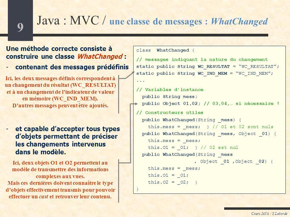 10 Cours JAVA / Y.Laborde Java : MVC / exemple dutilisation de WhatChanged class ModèleDeCalculatrice extends java.util.Observable { // Variables dinstance du modèle protected double result, oldResult; protected char oldOperator; protected double memoryValue; protected boolean oldResultOK, oldOperatorOK, memoryValueOK; public ModèleDeCalculatrice () { this.oldResultOK = this.oldOperatorOK = this.memoryValueOK = false; } public doBinaryOperation(char op) { if (op=== && oldResultOK && oldOperatorOK) { if (oldOperator == + ) { oldResult = result = oldResult + result ; this.notifyAll( // Construit largument : new WhatChanged ( WhatChanged.WC_RESULTAT, (new Double(result)).toString() ) ); } else if (oldOperator == - )...