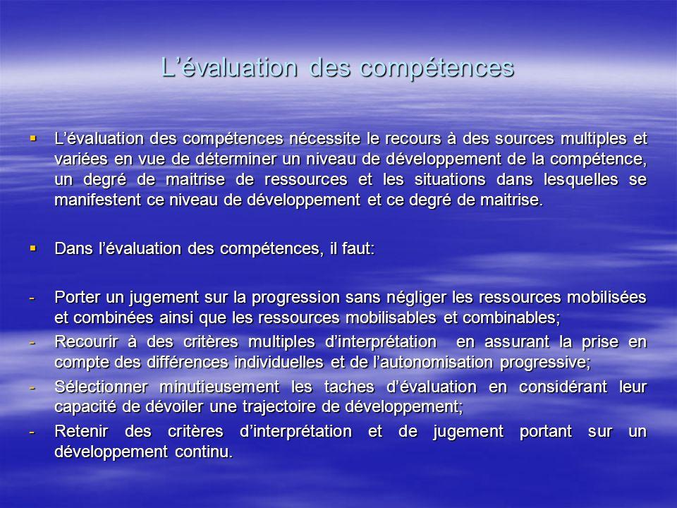 Lévaluation des compétences Lévaluation des compétences nécessite le recours à des sources multiples et variées en vue de déterminer un niveau de déve