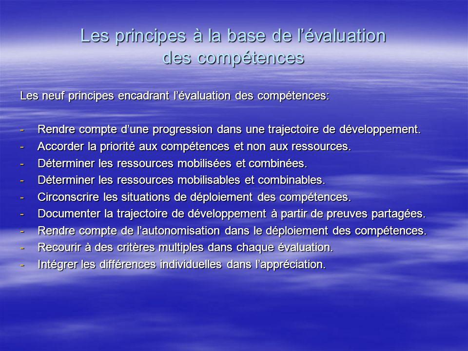 Les principes à la base de lévaluation des compétences Les neuf principes encadrant lévaluation des compétences: -Rendre compte dune progression dans