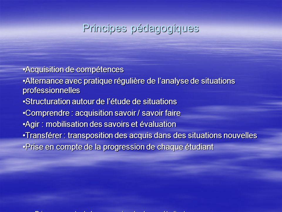 Principes pédagogiques Acquisition de compétences Alternance avec pratique régulière de lanalyse de situations professionnelles Structuration autour d