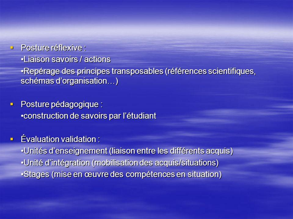 Posture réflexive : Posture réflexive : Liaison savoirs / actions Repérage des principes transposables (références scientifiques, schémas dorganisatio