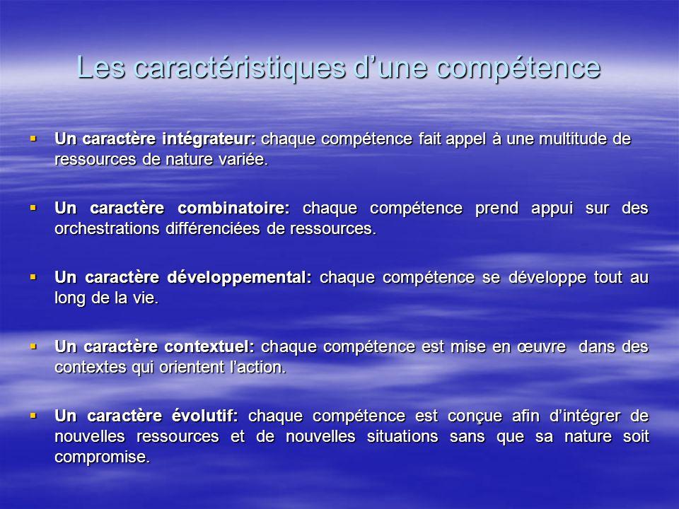 Les caractéristiques dune compétence Un caractère intégrateur: chaque compétence fait appel à une multitude de ressources de nature variée. Un caractè
