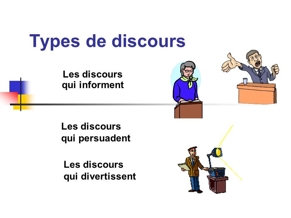 Types de discours Les discours qui informent Les discours qui persuadent Les discours qui divertissent