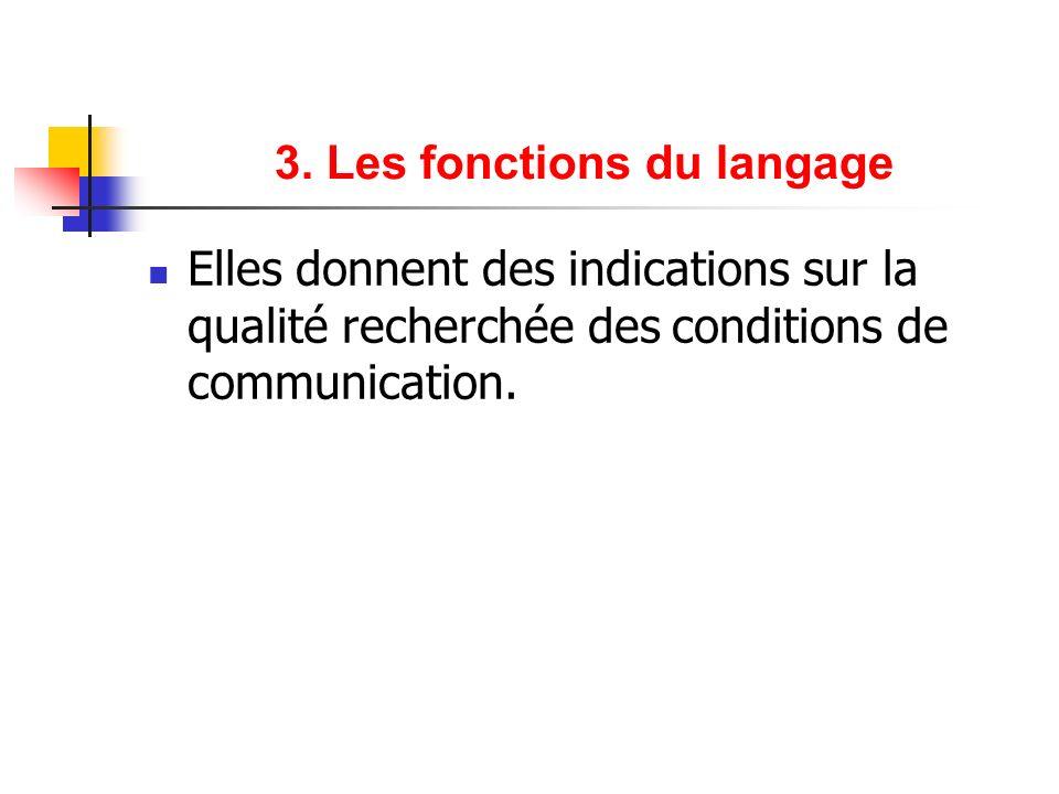 3. Les fonctions du langage Elles donnent des indications sur la qualité recherchée des conditions de communication.