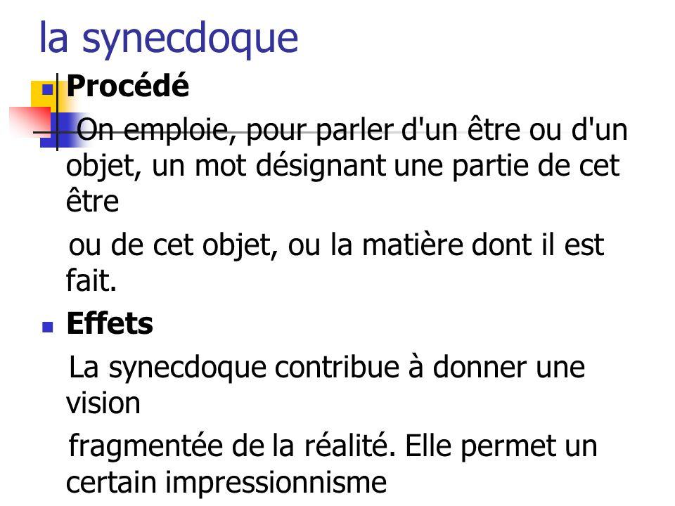 la synecdoque Procédé On emploie, pour parler d'un être ou d'un objet, un mot désignant une partie de cet être ou de cet objet, ou la matière dont il