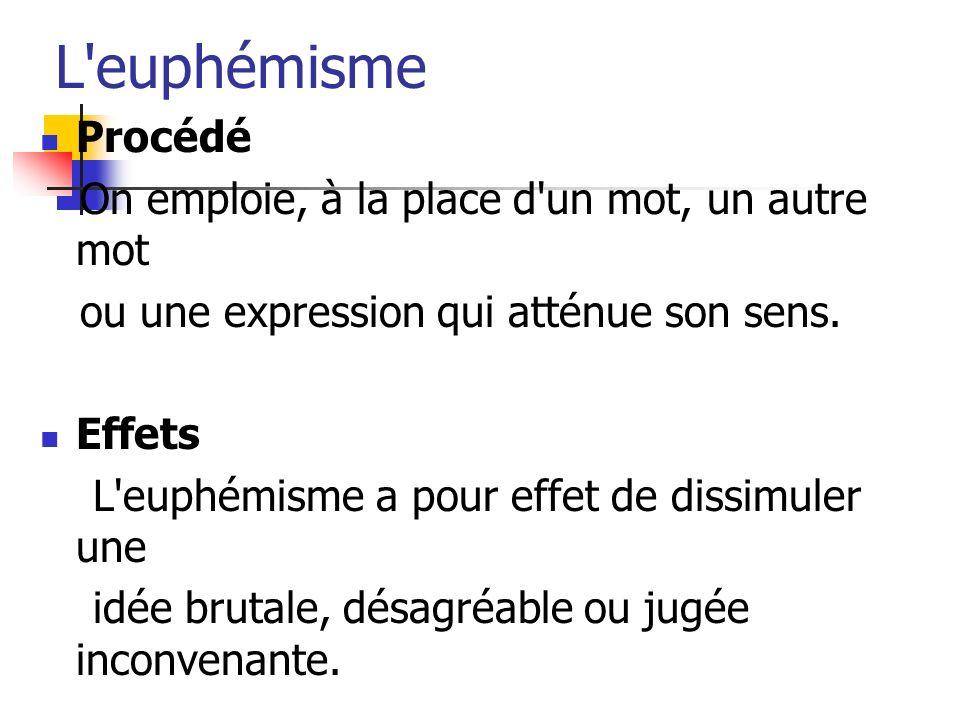 L'euphémisme Procédé On emploie, à la place d'un mot, un autre mot ou une expression qui atténue son sens. Effets L'euphémisme a pour effet de dissimu