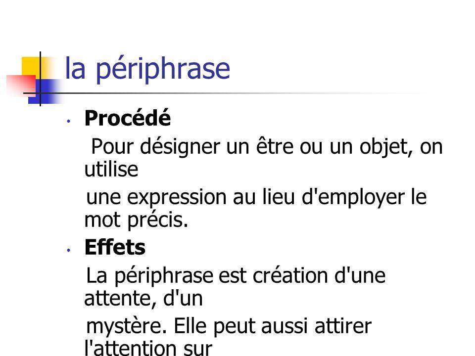 la périphrase Procédé Pour désigner un être ou un objet, on utilise une expression au lieu d'employer le mot précis. Effets La périphrase est création