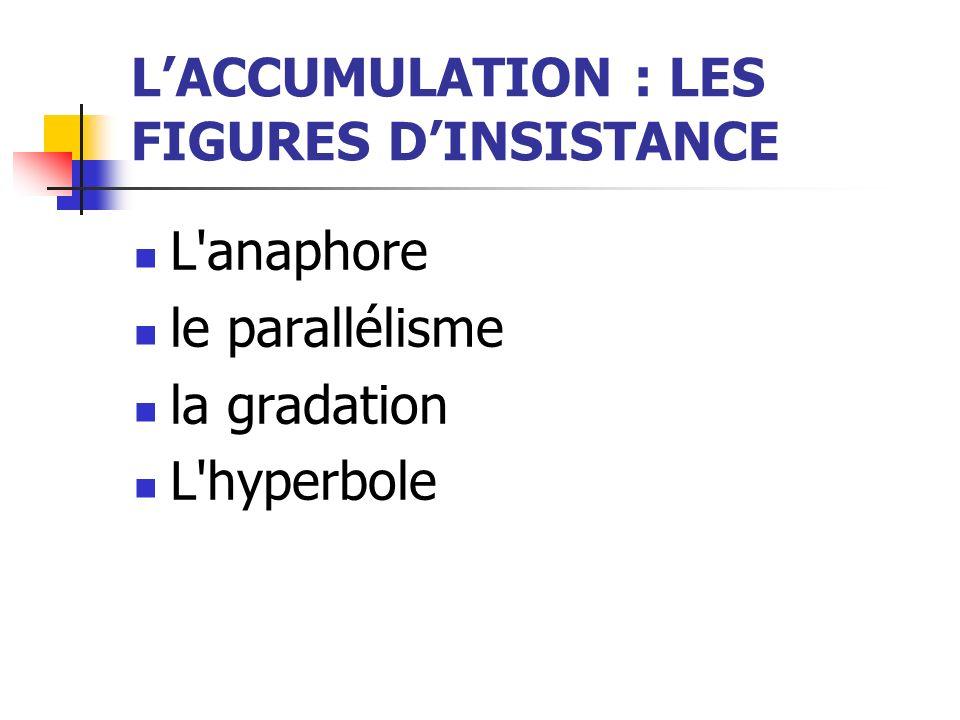 LACCUMULATION : LES FIGURES DINSISTANCE L'anaphore le parallélisme la gradation L'hyperbole
