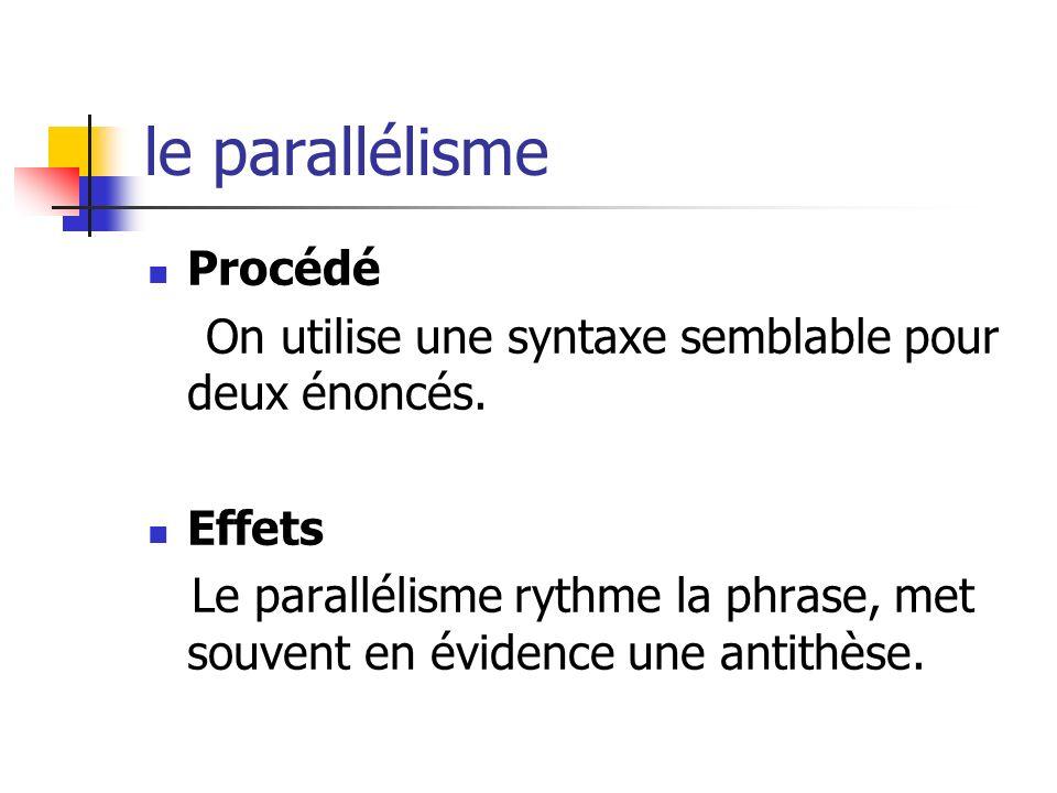le parallélisme Procédé On utilise une syntaxe semblable pour deux énoncés. Effets Le parallélisme rythme la phrase, met souvent en évidence une antit