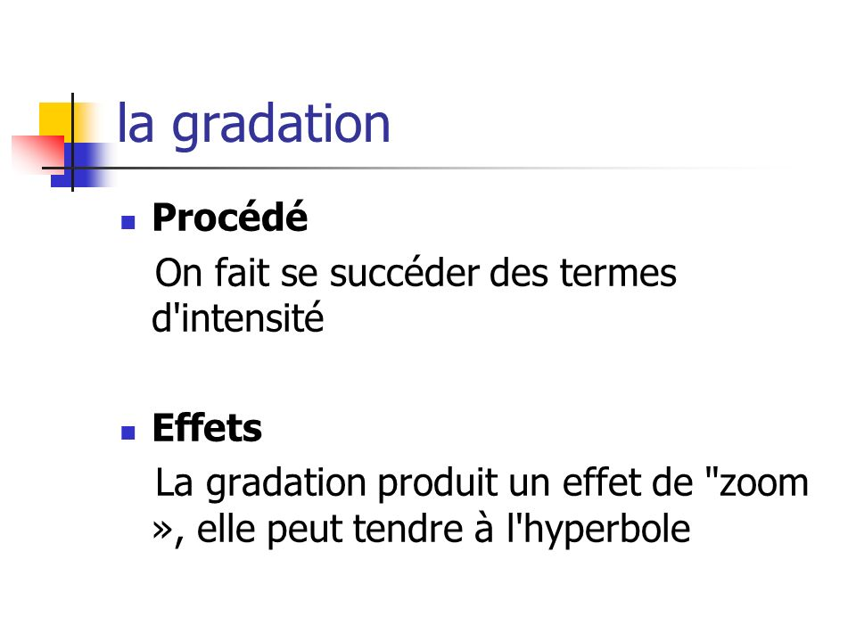 la gradation Procédé On fait se succéder des termes d'intensité Effets La gradation produit un effet de
