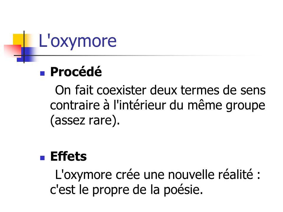 L'oxymore Procédé On fait coexister deux termes de sens contraire à l'intérieur du même groupe (assez rare). Effets L'oxymore crée une nouvelle réalit