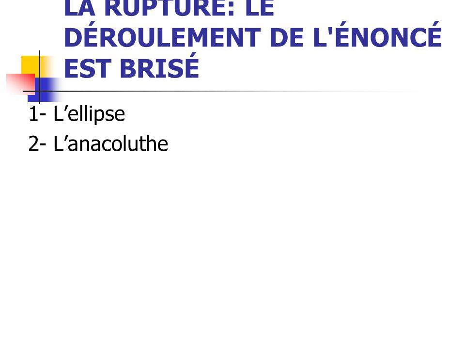 LA RUPTURE: LE DÉROULEMENT DE L'ÉNONCÉ EST BRISÉ 1- Lellipse 2- Lanacoluthe