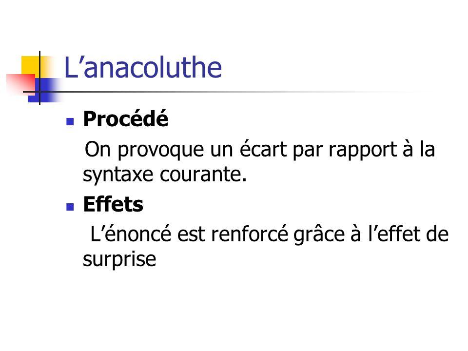 Lanacoluthe Procédé On provoque un écart par rapport à la syntaxe courante. Effets Lénoncé est renforcé grâce à leffet de surprise