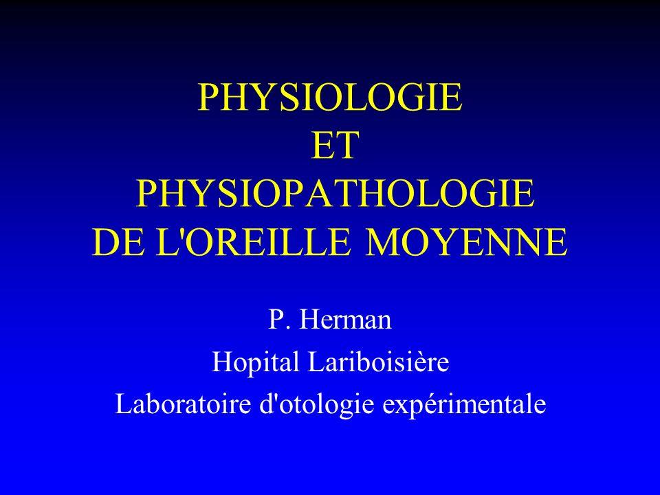PHYSIOLOGIE ET PHYSIOPATHOLOGIE DE L'OREILLE MOYENNE P. Herman Hopital Lariboisière Laboratoire d'otologie expérimentale