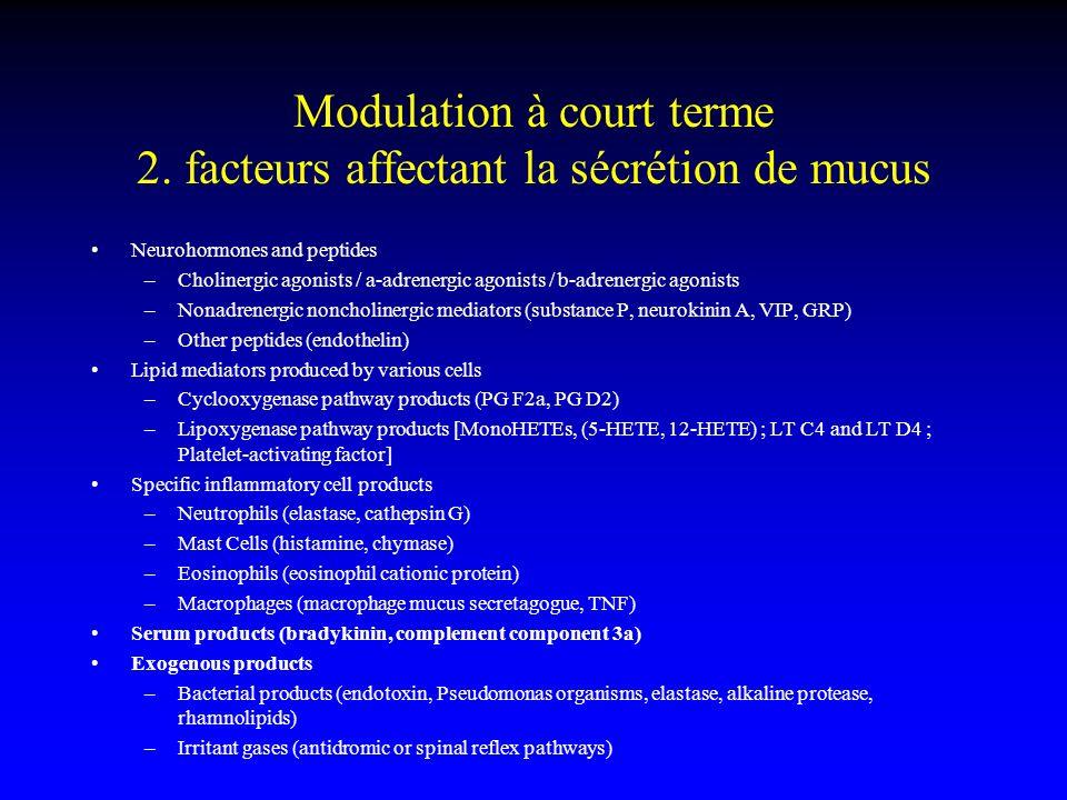 Modulation à court terme 2. facteurs affectant la sécrétion de mucus Neurohormones and peptides –Cholinergic agonists / a-adrenergic agonists / b-adre