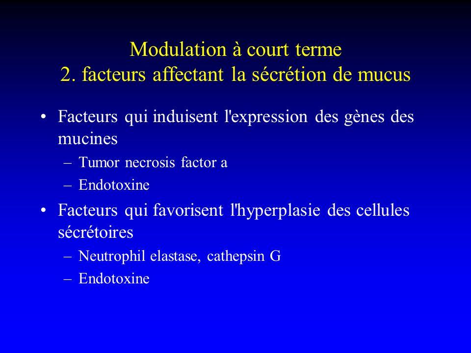 Modulation à court terme 2. facteurs affectant la sécrétion de mucus Facteurs qui induisent l'expression des gènes des mucines –Tumor necrosis factor