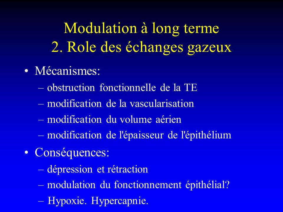 Modulation à long terme 2. Role des échanges gazeux Mécanismes: –obstruction fonctionnelle de la TE –modification de la vascularisation –modification