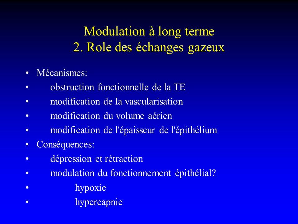 Modulation à long terme 2. Role des échanges gazeux Mécanismes: obstruction fonctionnelle de la TE modification de la vascularisation modification du