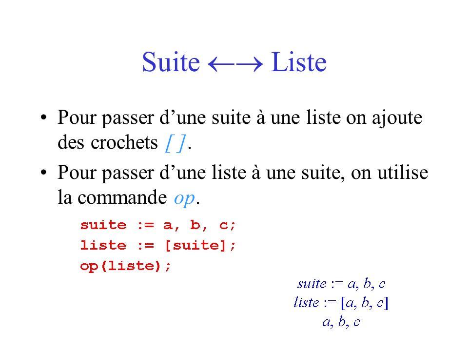 Construction de suites génériques (séquence ou itération) On utilise la commande seq ou bien la programmation par itération pour construire une suite générique.