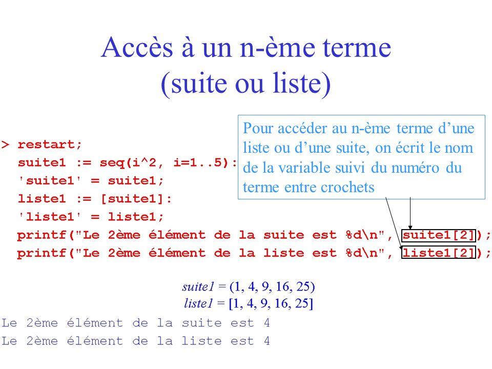Sous-suite, sous-liste et concaténation concaténation de suites concaténation de listes sous-suite sous-liste