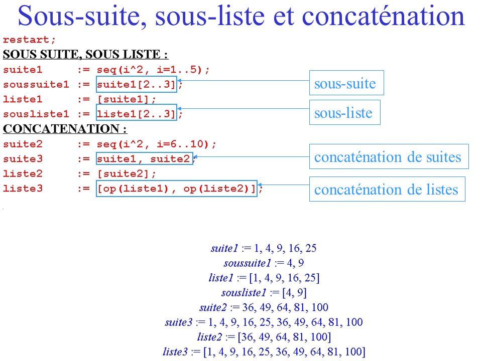 Quelques particularités des listes Commandes propres aux listes : –Nombre déléments : nops –Substitution dun élément sachant son nom: subs –Substitution dun élément sachant sa place: subsop –Tri : sort.