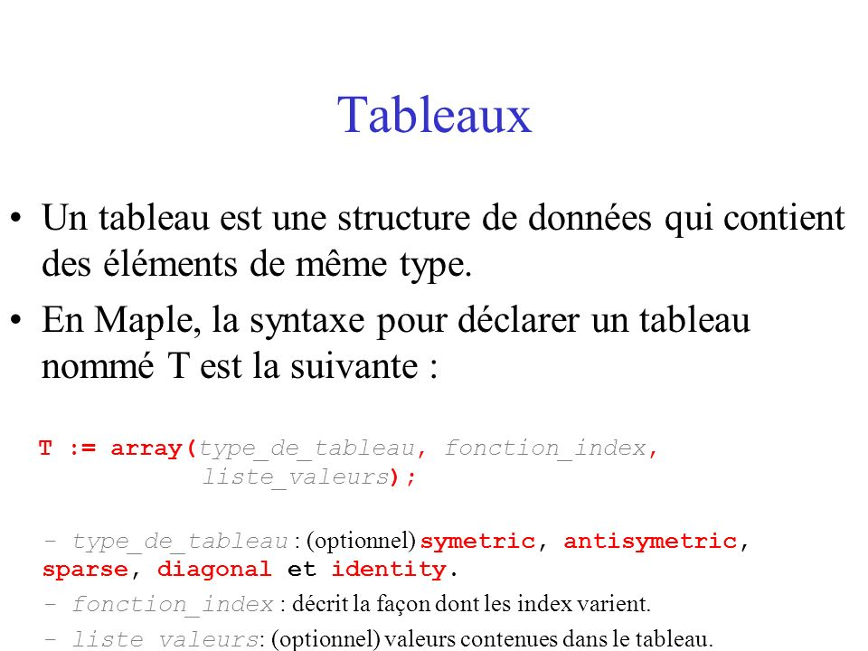 Tableaux : Illustration nombre de lignes nombre de colonnes