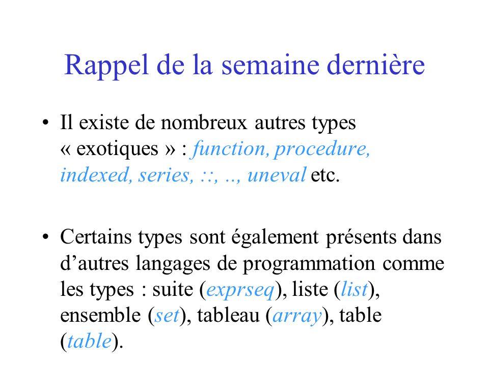 Suites En Maple, une suite est un ensemble dexpressions écrites dans un ordre donné et séparées par des virgules.