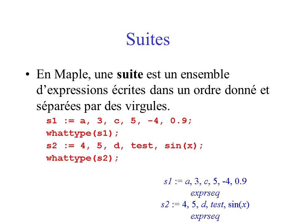 Listes En Maple, une liste est une « suite entourée de crochets ».