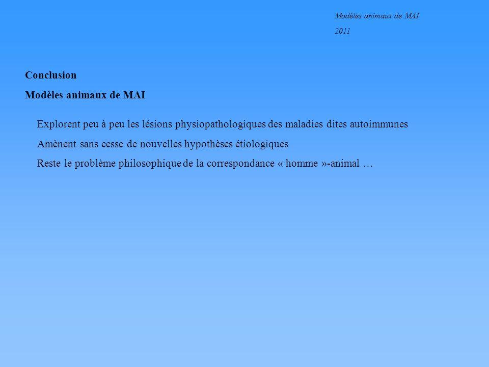 Modèles animaux de MAI 2011 Conclusion Modèles animaux de MAI Explorent peu à peu les lésions physiopathologiques des maladies dites autoimmunes Amène