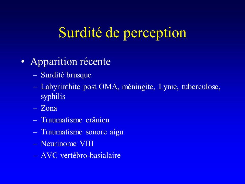 Surdité de perception Apparition récente –Surdité brusque –Labyrinthite post OMA, méningite, Lyme, tuberculose, syphilis –Zona –Traumatisme crânien –T