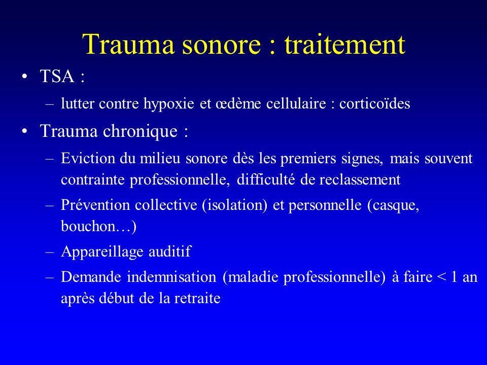 Trauma sonore : traitement TSA : –lutter contre hypoxie et œdème cellulaire : corticoïdes Trauma chronique : –Eviction du milieu sonore dès les premie