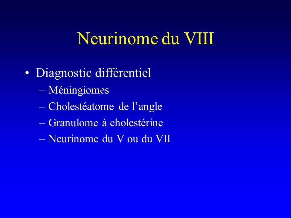 Neurinome du VIII Diagnostic différentiel –Méningiomes –Cholestéatome de langle –Granulome à cholestérine –Neurinome du V ou du VII