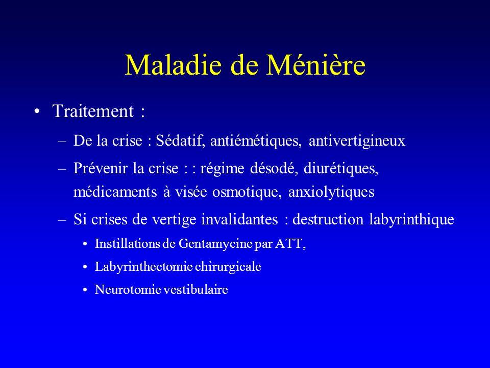 Maladie de Ménière Traitement : –De la crise : Sédatif, antiémétiques, antivertigineux –Prévenir la crise : : régime désodé, diurétiques, médicaments