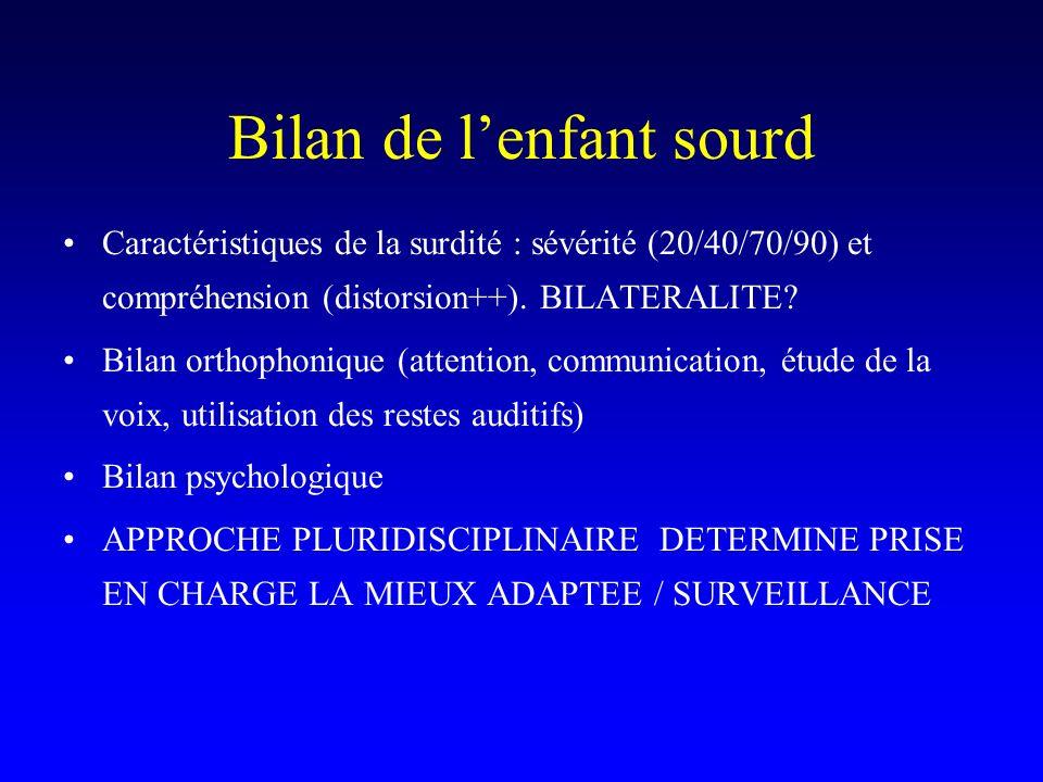 Bilan de lenfant sourd Caractéristiques de la surdité : sévérité (20/40/70/90) et compréhension (distorsion++). BILATERALITE? Bilan orthophonique (att