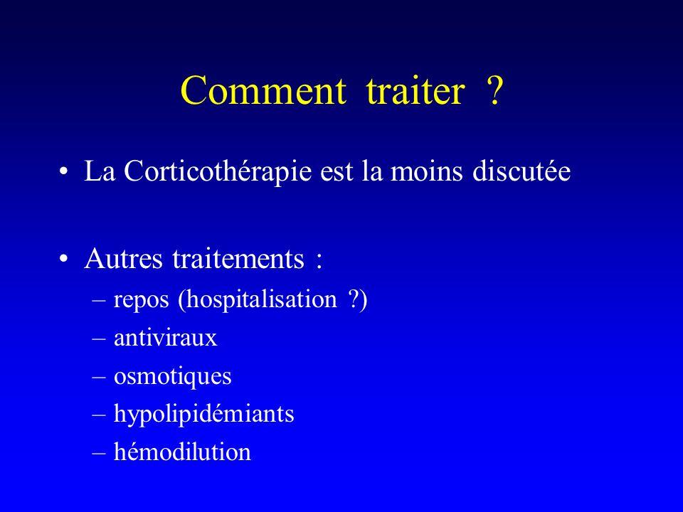 Comment traiter ? La Corticothérapie est la moins discutée Autres traitements : –repos (hospitalisation ?) –antiviraux –osmotiques –hypolipidémiants –