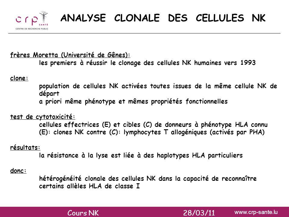 www.crp-sante.lu ANALYSE CLONALE DES CELLULES NK frères Moretta (Université de Gênes): les premiers à réussir le clonage des cellules NK humaines vers