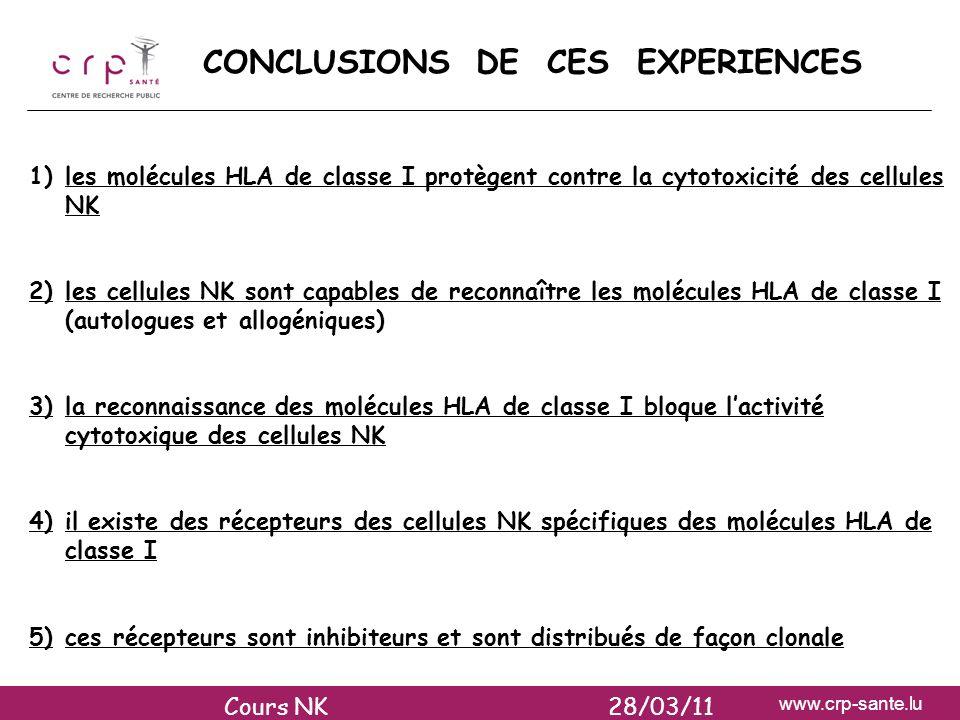 www.crp-sante.lu CONCLUSIONS DE CES EXPERIENCES 1)les molécules HLA de classe I protègent contre la cytotoxicité des cellules NK 2)les cellules NK son