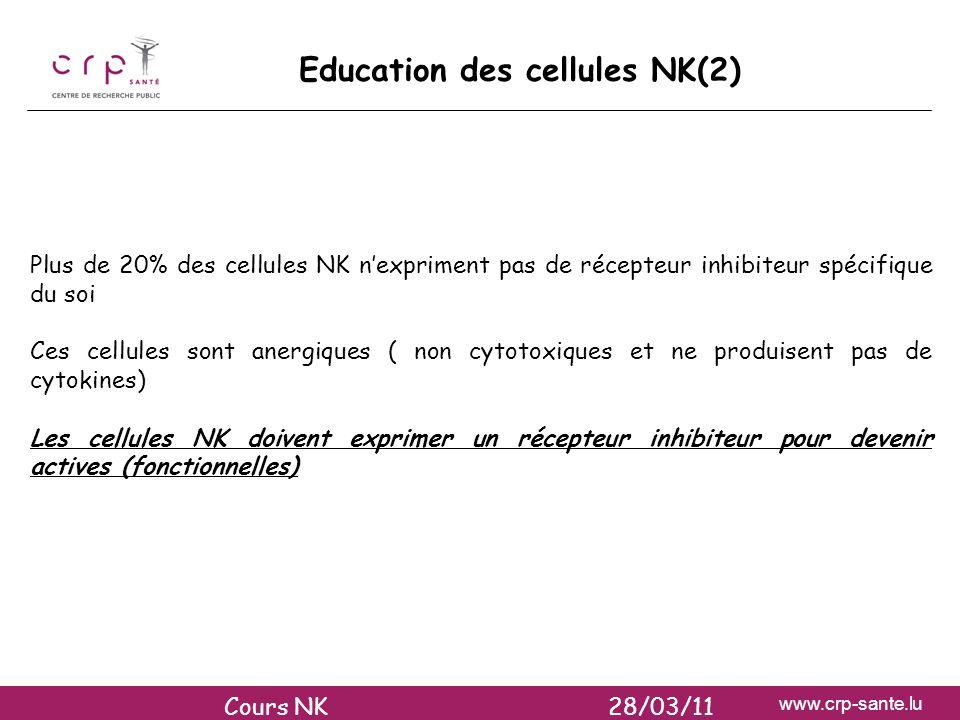 www.crp-sante.lu Plus de 20% des cellules NK nexpriment pas de récepteur inhibiteur spécifique du soi Ces cellules sont anergiques ( non cytotoxiques
